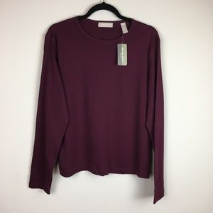 Kate Hill 100% Cotton Maroon Long Sleeve Tee